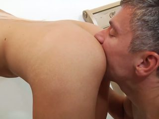 Cock-riding and doggystyle for busty blonde.