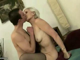 Hot mbah enjoys bayan with a boy