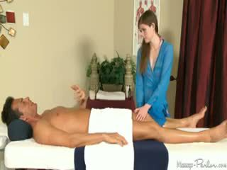 Lara Brookes Gives Her First Full Body Massage With Cum Shot