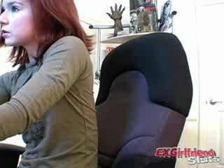 Nasty Red head girlfriend slut Annabella touching her body with lust on camera