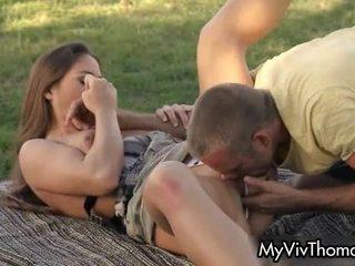 Horny Brunette Babe Likes Sucking