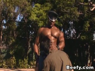 Black beefy mucle gay sucking and licking his