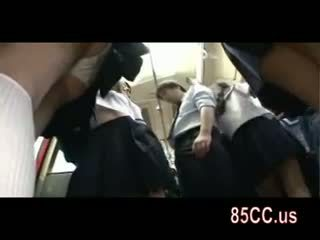Horny Schoolgirl Seduce Office Workers On Bus