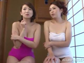 Luscious Oriental MILFs Give A Playing And A BJ