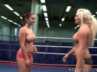 Naughty busty girls fighting