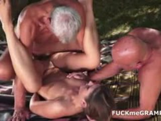 brunette, old+young, threesome