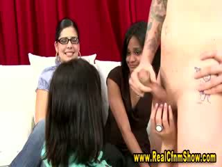 Amateur with stupid tattoo gets handjob by big boobed chick