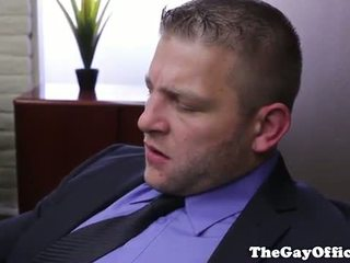 Horny office hunk sucks cock and eats ass