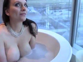 Sexy Big Tit Brunette Wife Takes a Bath & Mouthfucks Cock