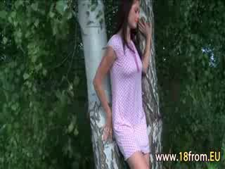 Girl rubbing the pussy in a forest