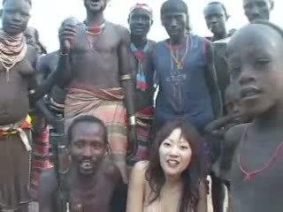 japonec, dievča, africký