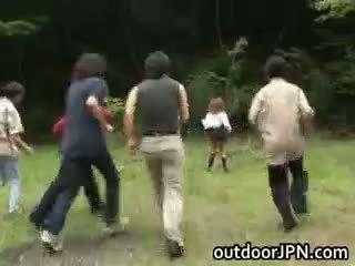 japonés, interracial, público