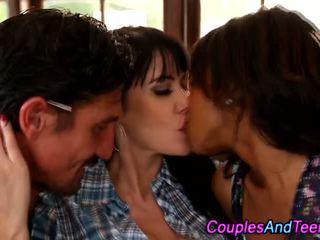 Teen ffm kissing trio