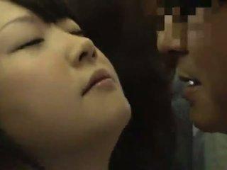 Cute Oriental Youthful Strokes A Pocket Rocket In Public Bus Till It Sperms