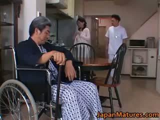 brunette, japonais, sexe de groupe