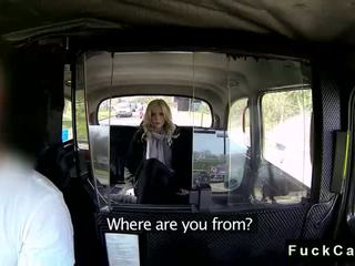 Blonde British babe fucked in fake taxi