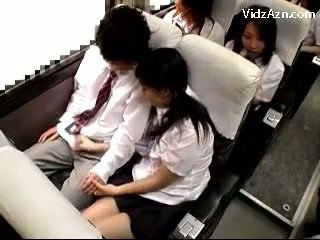 Schoolgirl Jerking Off Guys Cock On The Schools Bus Trip