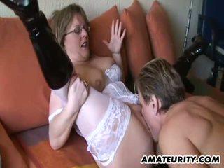 Busty mature amateur Milf sucks and fucks
