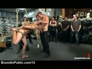 Bound Suspended Gay Gangbanged In Leather Shop