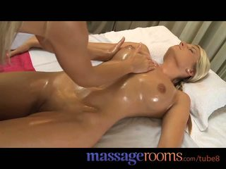Massage Rooms Teen blondes get orgasms from fingering and big cock