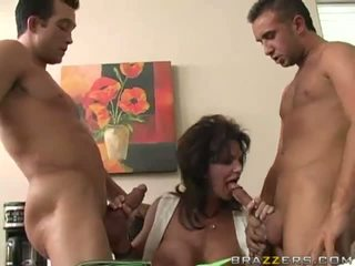 Milf Gangbanged By Three Cocks