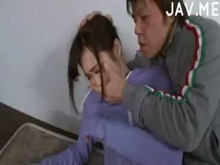 brunette, japanese, cumshot
