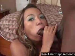 Realasianexposed - เอเชีย cutie keeani lei gags บน มาก ดำ ควย