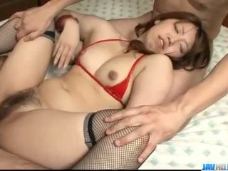 Obedient Ai Ootomo goes down on two large cocks