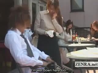 Subtitled warga jepun awam cafe erection wiping pelayan wanita