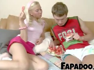 Slim Blonde Watermelon Eating Foreplay, Porn 8f