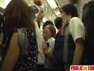 Schoolgirl gives a handjob on the bus