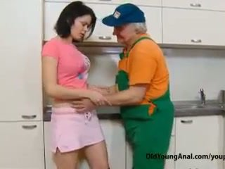 Naughty teen girl pays an old repairman for work with her young tight asshole